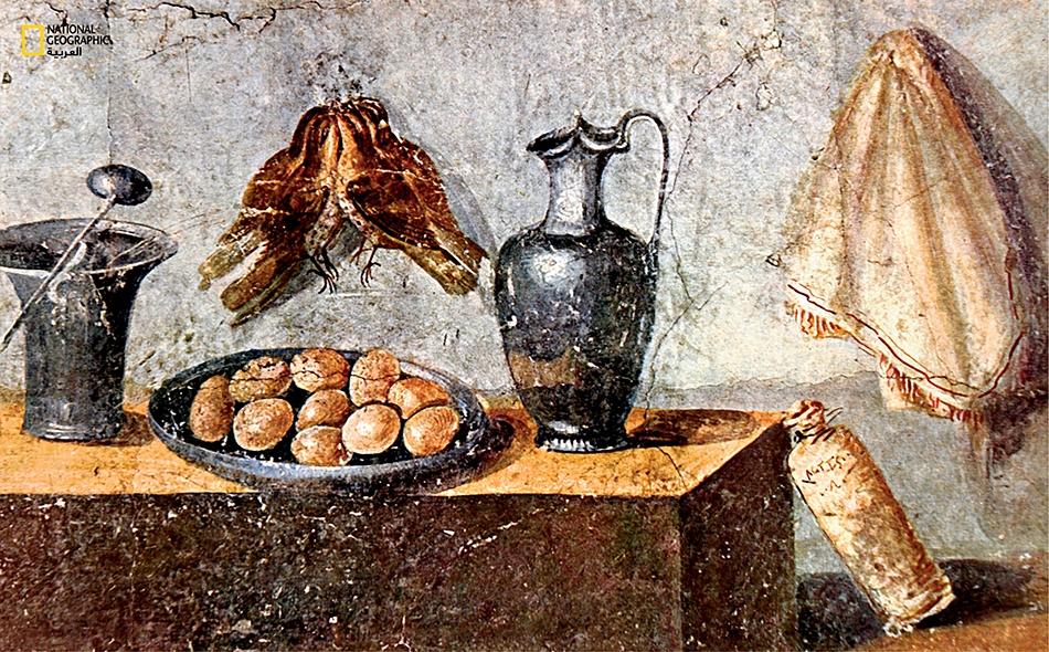 لوحة جدارية وُجدت بمنزل فخم يعود إلى مدينة بومبي البائدة، وقد رُسم عليها مطبخ يزخر بصنف نادر من الطعام هو طائر السمنة، وصنف مألوف هو البيض.
