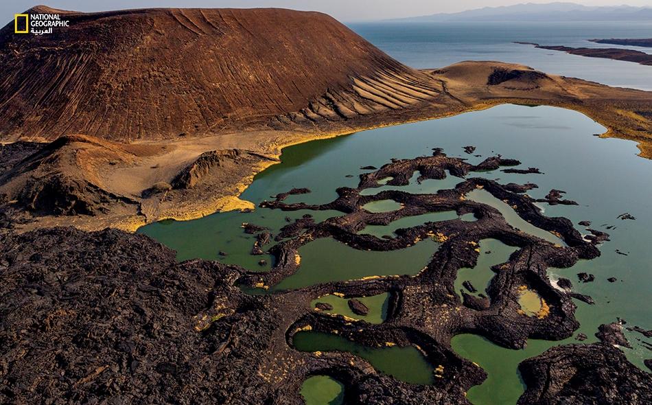"""تنمو الطحالب في بِركٍ بالطرف الجنوبي لبحيرة توركانا. دفع انتشار هذه النباتات في البحيرة المستكشفينَ الأوائل إلى تسميتها باسم """"Jade Sea"""" (بحر اليشم). ساهمت وعورة محيط البحيرة في إبقائها آخر بحيرة إفريقية كُبرى يضع الأوربيون خرائط لها."""