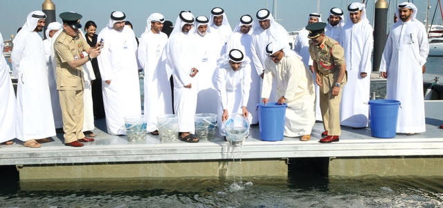 الزيودي وخلفان شاركا في إطلاق إصبعيات أسماك الهامور والقابط والشعم. من المصدر