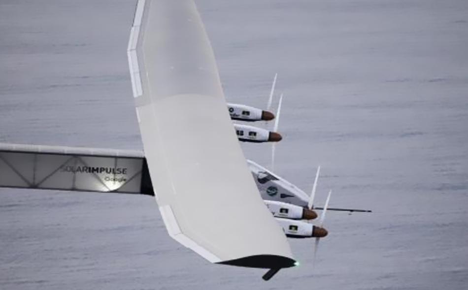 طائرة (سولار إمبلس 2) التي تعمل بالطاقة الشمسية تحلق فوق ساحل أوهايو في رحلة تجريبية يوم 23 مارس آذار 2016.