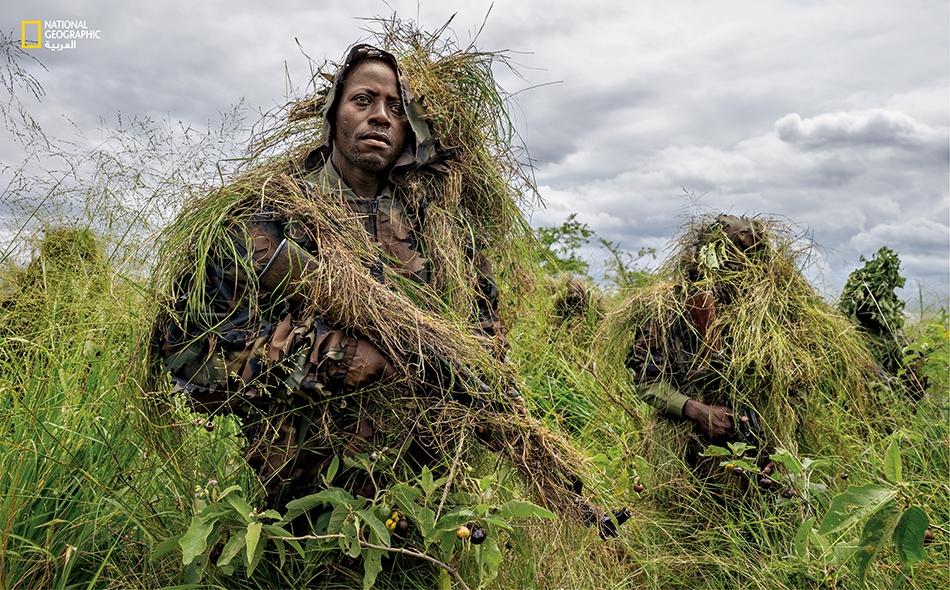 """يخضع حرّاس """"منتزه فيرونغا الوطني"""" لتدريبات تشبه التدريبات العسكرية، وتشمل فن نصب الكمائن."""