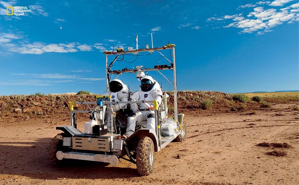 """يتمرن رواد الفضاء قرب مدينة """"فلاغستاف"""" بولاية أريزونا- ومواقع أخرى- في ظروف تحاكي ظروف القمر. صورة أرشيفية."""
