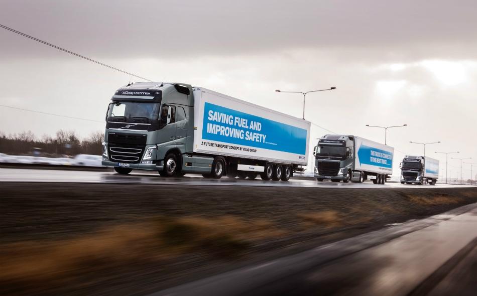 يُعدّ نظام التتابع أكثر اقتصادا في استهلاك الوقود حيث تقلل الشاحنة القائدة مقاومة الهواء لدى الشاحنات التالية. الصورة: Engadget.com
