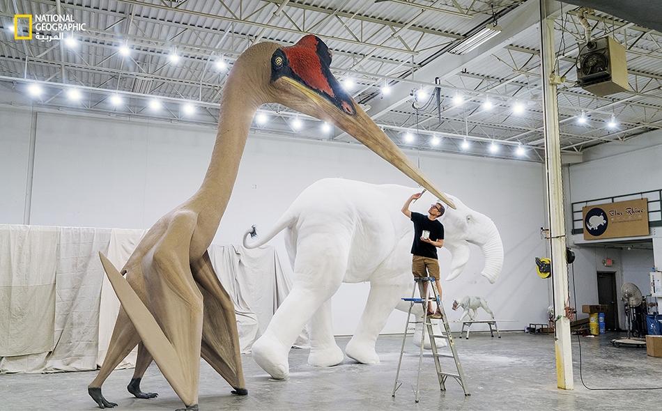 """طوله يماثل طول زرافة وعرض جناحيه يضاهي جناحي الطائرة المقاتلة """"إف16-"""".. إنه """"كيتزالكوتلس نورثروبي""""، أحد أضخم الحيوانات الطائرة في الزمن القديم."""