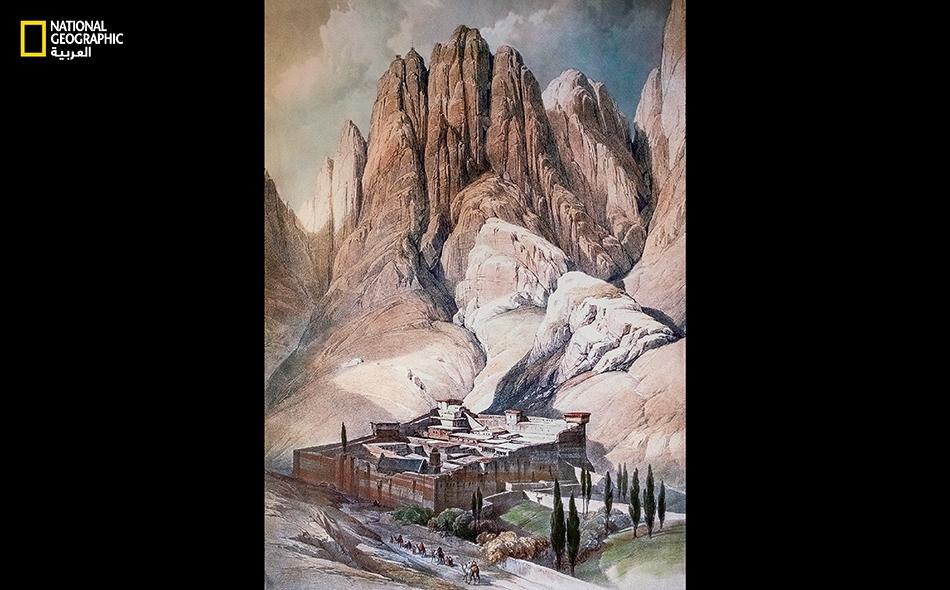 """لوحة لدير """"سانت كاترين"""" رسمها """"ديفيد روبرتس"""" عام 1839."""