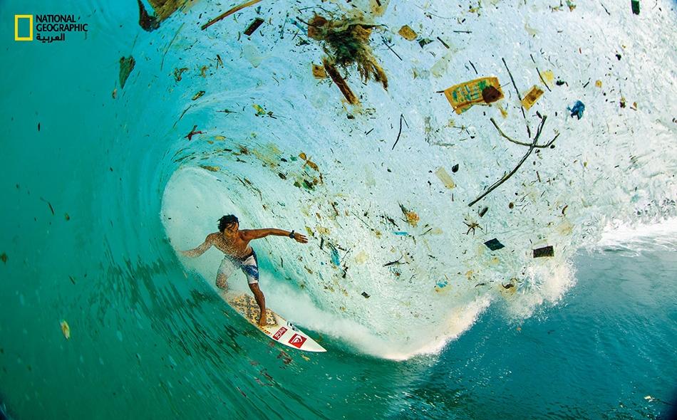 تلقى نحو 8 ملايين طن من مخلفات البلاستيك من زجاجات وأكياس وأشياء أخرى تلقى في المحيط كل عام؛ وتتسبب في قتل كائنات بحرية مما يؤثر في السلسة الغذائية للإنسان. صورة أرشيفية.