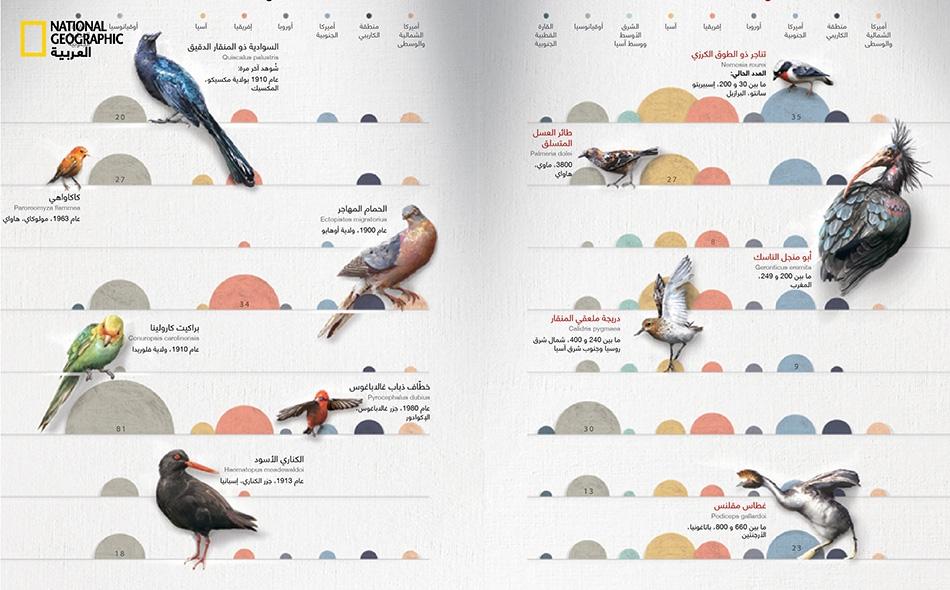 يشير حجم أنصاف الدوائر إلى عدد الأنواع المهددة أو المنقرضة؛ ويواجه بعضها تهديدات متعددة في مناطق متعددة.