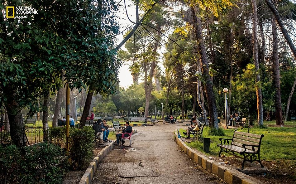 """تلتقي العائلات والأصدقاء في منتزه حلب العام. انهالت القذائف على هذا المنتزه الممتد على مساحة 17 هكتارا قرب """"محطة بغداد""""، وهي محطة القطار الرئيسة في مدينة حلب."""