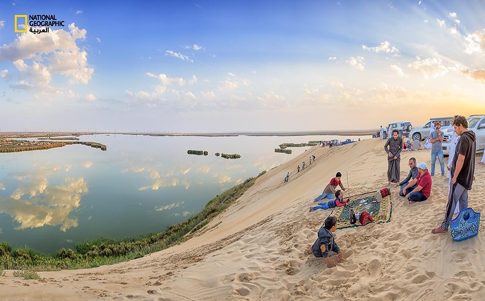 """يقصد العديد من الزوار """"بحيرة الأصفر"""" الواقعة شرق الأحساء للاستمتاع بطبيعتها الفريدة. تبلغ مساحة هذه البحيرة نحو 250 ألف متر مربع، وتنهل مياهها أساساً من قنوات الصرف الزراعي؛ ويزيد من رونقها النباتات والأشجار الصحراوية والكثبان الرملية التي تحيط بها"""