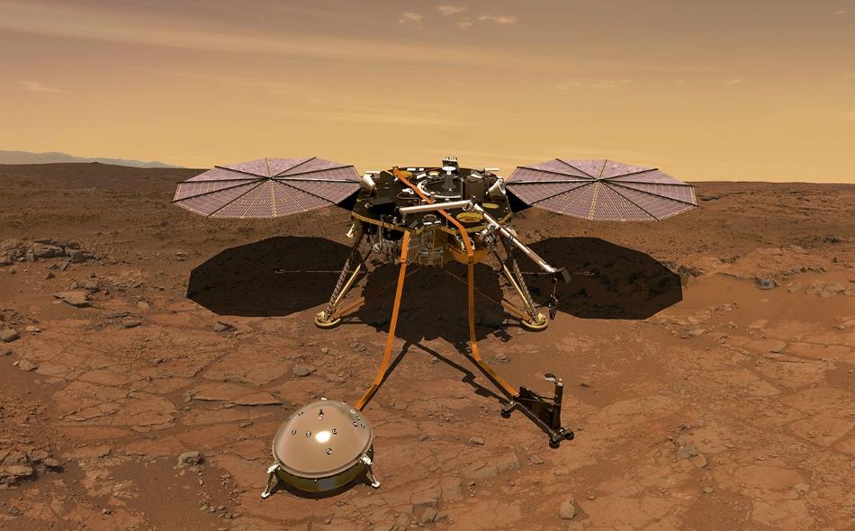 """يعد """"إنسايت"""" أول مسبار مخصص لكشف أسرار ما تحت سطح الكواكب، وسيقضي 24 شهرا في الحفر في أعماق الكوكب الأحمر باستخدام """"الفحص السيزمي""""، بحثا عن معلومات تساعد على معرفة كيف تشكّل المريخ وأصل الأرض. الصورة: NASA/JPL-Caltech"""