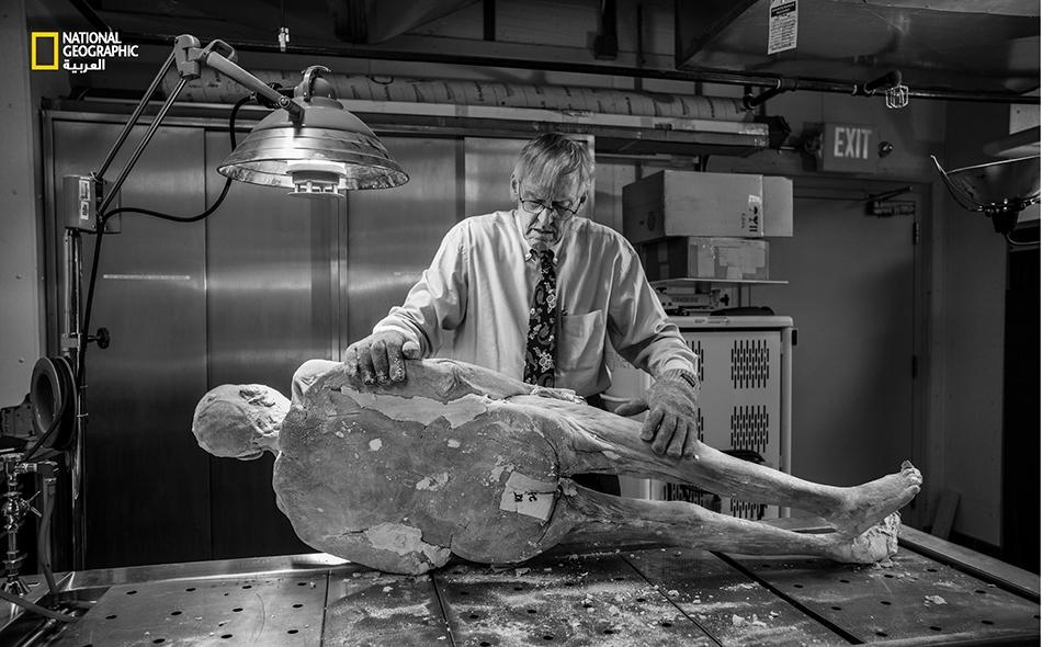 """يناير 2017 – يستعد """"فيكتور سبيتزر""""، مدير """"مركز المحاكاة البشرية""""، لإخراج قضيب تيتانيوم من ورك """"بوتر"""" الصناعي. فلو تُرك القضيب في مكانه، ربما كان سيدمر شفرة التقطيع. كانت الجثة مجمدة، لذا كان لابد من إذابة الورك لإزالة الطرف الصناعي."""