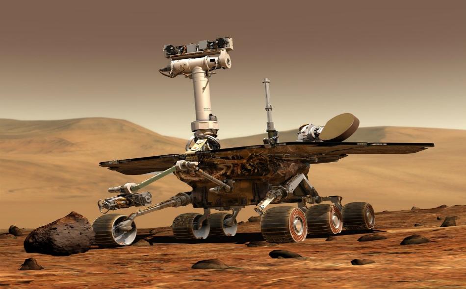 """فقدت وكالة """"ناسا"""" الاتصال بمركبة """"أبورتيونيتي"""" يوم العاشر من يونيو الماضي خلال عاصفة ترابية اجتاحت المريخ، وبذلك تتنهي مهمة هذه المركبة بعد 15 عاماً قضتها على سطح الكوكب الأحمر. الصورة: NASA"""