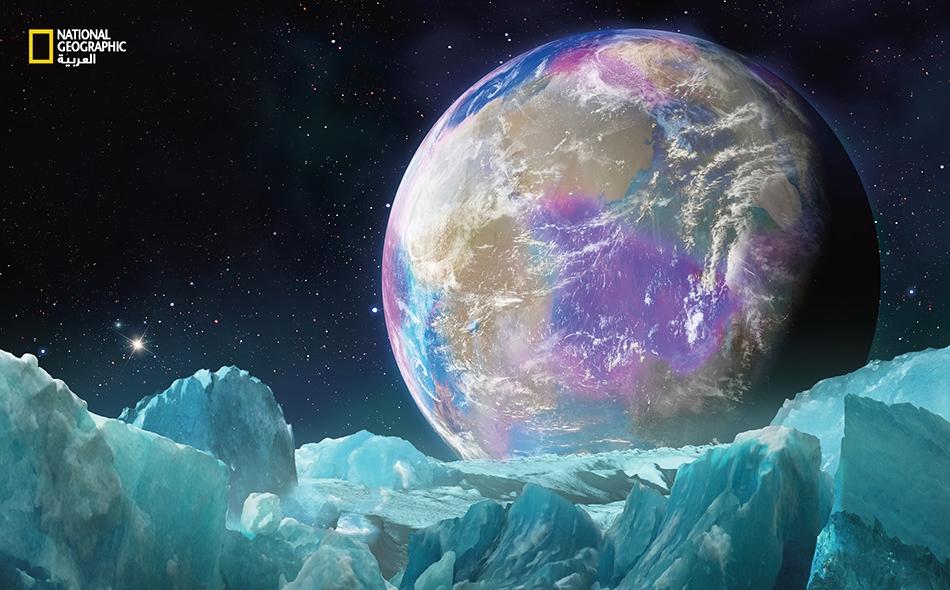 """لمسحة الأرجوانية الشاحبة لهذا الكوكب الخارجي الافتراضي، والذي نراه من قمره الجليدي، مستـمَدّ من صبغة تدعى """"ريتينال""""، وهي كذلك مادّة قادرة على تحويل الضوء إلى طاقة استقلابية وربما تكون قد سبقت ظهور اليخضور في بداية عمر الأرض."""