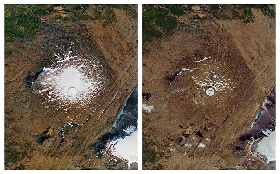 """في خطوة تستهدف تسليط الضوء على تداعيات التغير المناخي، دشّنت آيسلندا لوحة تذكارية مخصصة لنهر """"أوكيوكول""""، أول نهر جليدي اندثر في الجزيرة بسبب التغير المناخي. الصورة: NASA via AP"""
