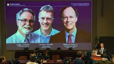 """أعلنت الهيئة المانحة لجوائز نوبل عن فوز الأميركيين """"ويليام كايلين"""" و""""غريغ سيمينزا"""" والبريطاني """"بيتر راتكليف"""" بجائزة نوبل للطب لهذا العام، بفضل اكتشافهم كيفية تكيف الخلايا مع تغير مستويات الأوكسجين. الصورة: JONATHAN NACKSTRAND/AFP via Getty Images"""