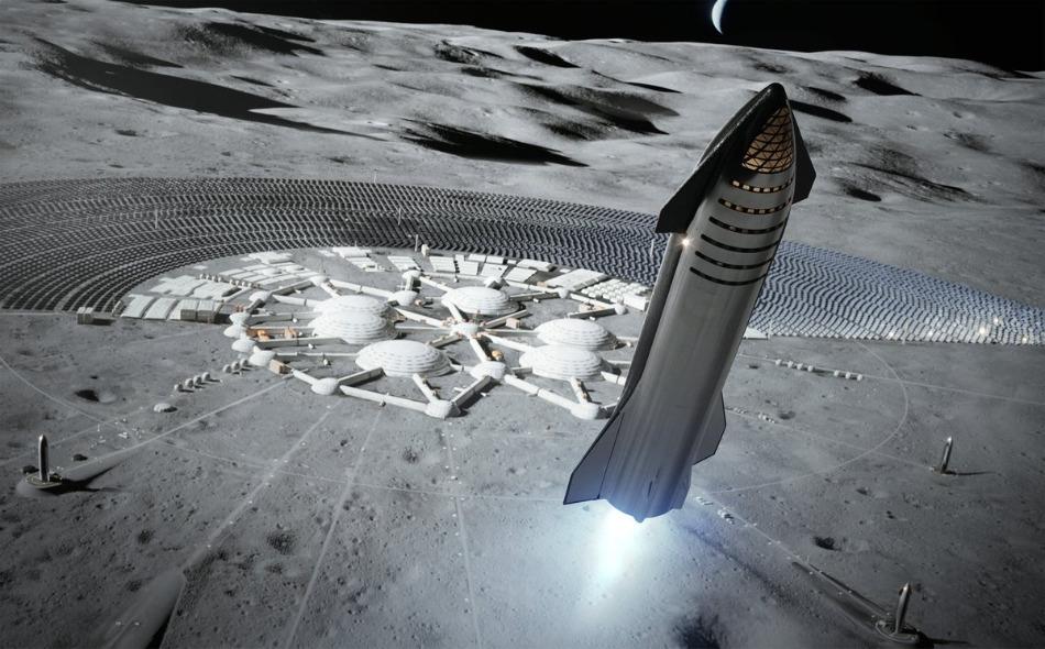 """تُعد مركبة """"ستار شيب"""" مركبة فضاء من الصلب اللامع، ويمكنها حمل عشرات الأشخاص إلى القمر والمريخ، وهي مركبة يجري تطويرها من قبل شركة """"سبيس إكس"""". الصورة: SpaceX"""