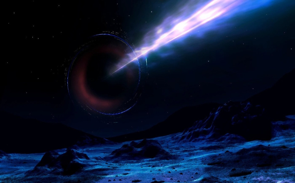 أتاحت ملاحظات فريق من علماء الفلك تقدير أن الثقب الأسود الهائل في قلب النجم المكتشف أكبر بنحو مليار مرة من الشمس. وبالمقارنة، فإن الثقب الأسود في وسط درب التبانة يعد أكبر من كتلة الشمس بنحو 4 ملايين مرة فقط. الصورة: Mark Garlick/Science Photo Library...
