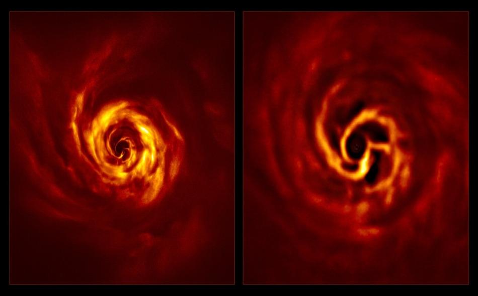 """باستخدم أداة """"سفير"""" في التلسكوب الكبير """"فيلت""""، تمكن علماء الفلك من التقاط صور للنجم """"إيه بي. أوريغاي""""، والتي تظهر """"دوامة الغبار المذهلة"""" التي يسببها العالم الجديد. وتتصادم الجسيمات الموجودة في أقراص الغبار والغاز وتلتصق ببعضها البعض أثناء دورانها حول..."""