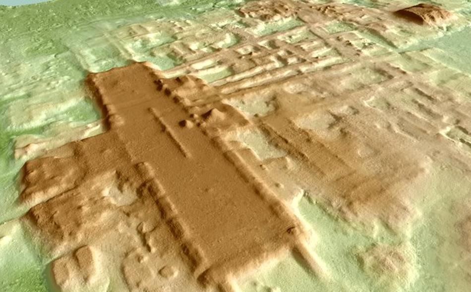 """صورة ثلاثية الأبعاد ترسم ملامح الموقع الجديد المكتشف لحضارة المايا في المكسيك، باستخدام تقنية """"ليدار"""". الصورة: Takeshi Inomata"""